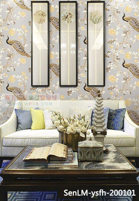 森林木凤凰系列中式壁纸,背景墙,适合很多地方使用适合家装背景墙,客厅