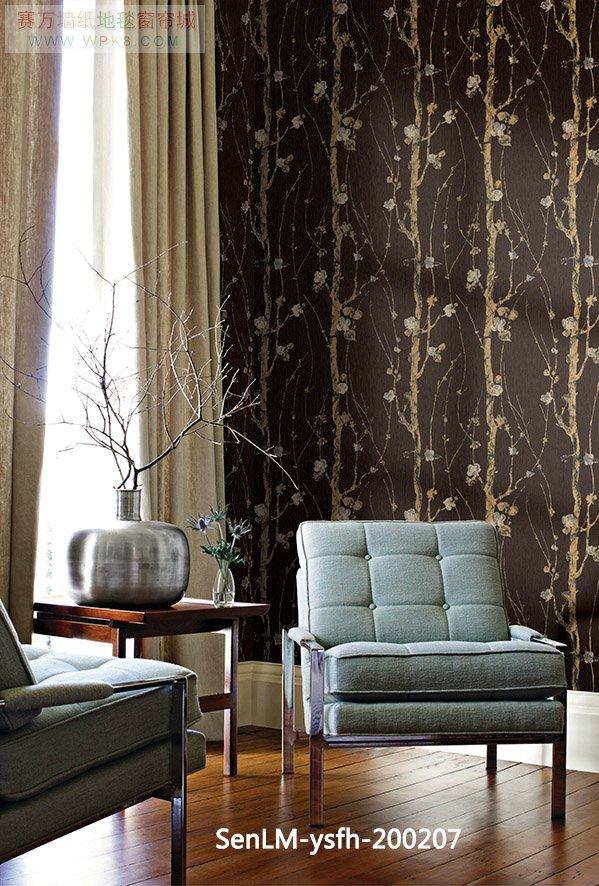 森林木凤凰系列中式壁纸,背景墙,适合很多地方使用欧式简约